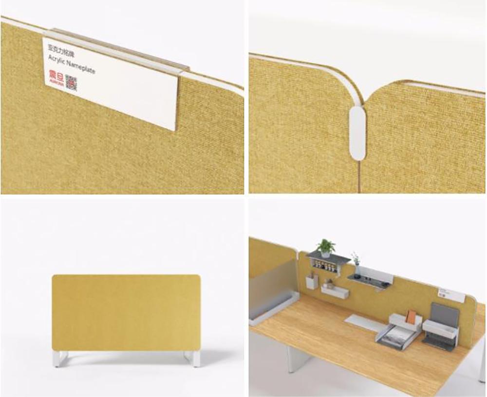 从左到右、从上到下依次为:名片夹,桌屏夹扣件,单边桌一体桌屏,Inbox
