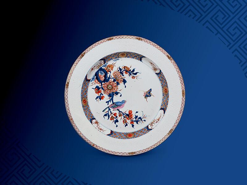清+雍正「五彩花鸟纹盘」直径43.5公分/震旦博物馆提供