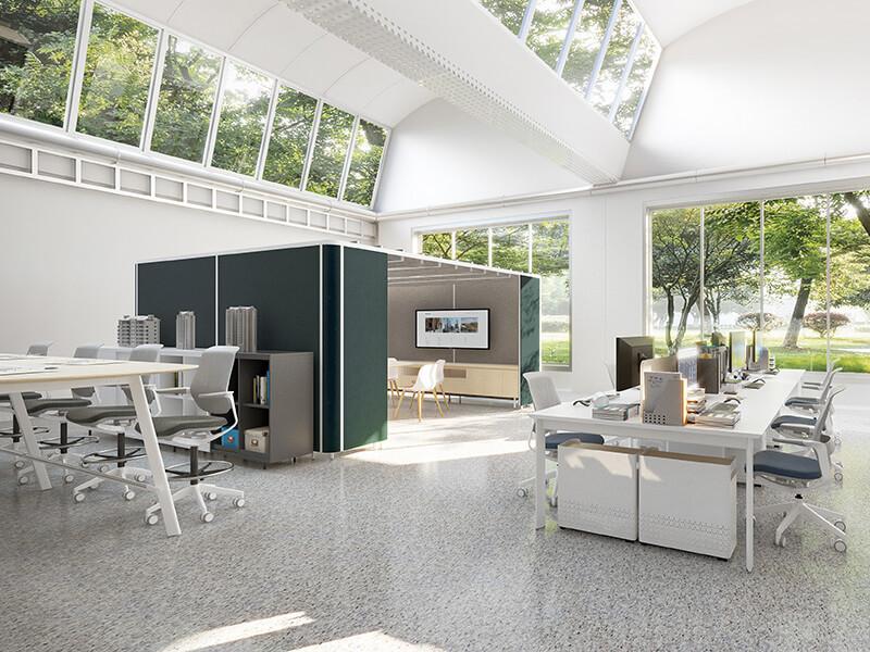 未来,办公室将以开放且轻松的空间氛围促进「协作」和「创新」。